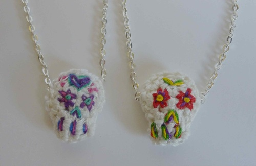 Crochet Sugar Skull Necklace