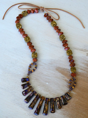 Fantastic fringe beaded necklace for Exquisite stone