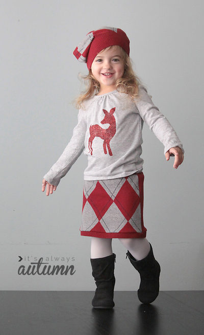 Holiday Glitter Shirt and Sweater Skirt Combo
