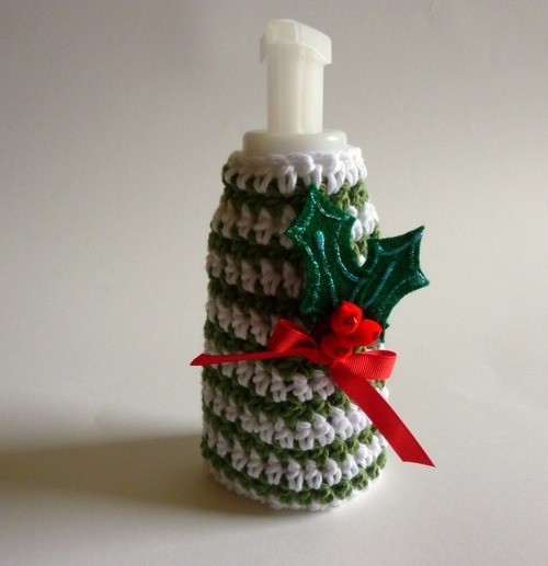 Jolly Holly Crochet Soap Cozy