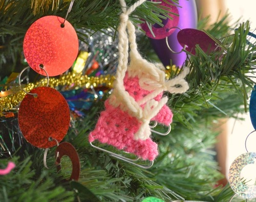 Paperclip Crochet Ice Skates Ornament