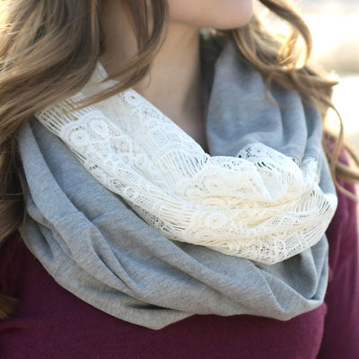 Easy Lace and Knit Infinity Scarf