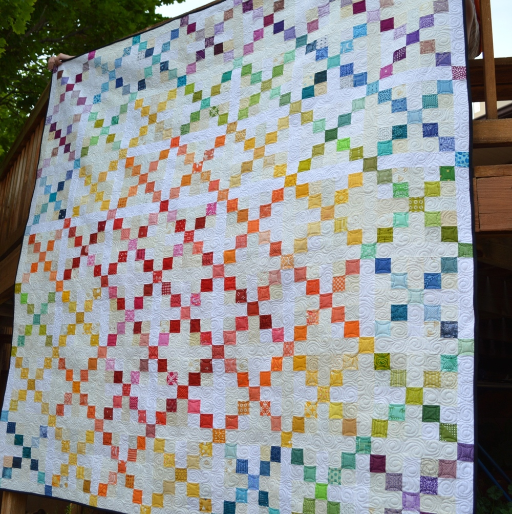 Super scrappy single irish chain quilt for Bed quilting designs