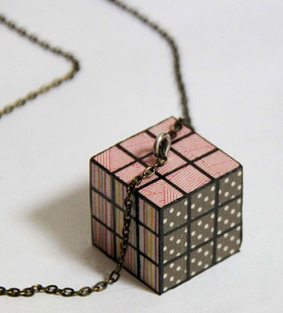 Washi Tape Rubik Cube Necklace