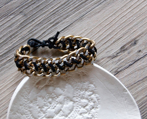 Sophisticated Leather Chain DIY Bracelet
