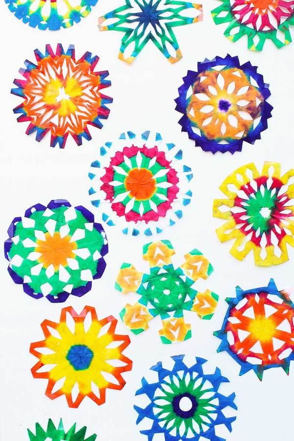 Psychedelic Watercolor Coffee Filter Snowflakes
