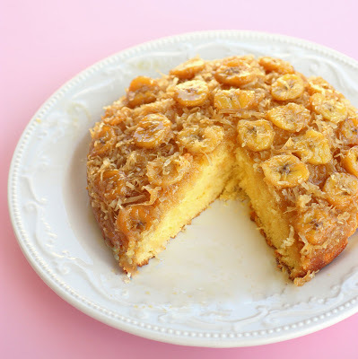 Coconut Banana Upside-Down Cake