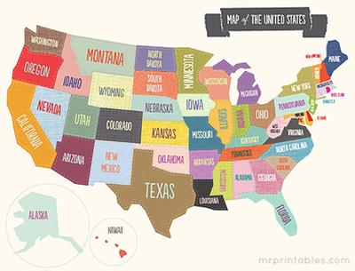 Free Printable Map of the USA | AllFreePaperCrafts com