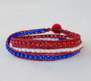 Red, White, and Blue Wrap Bracelet