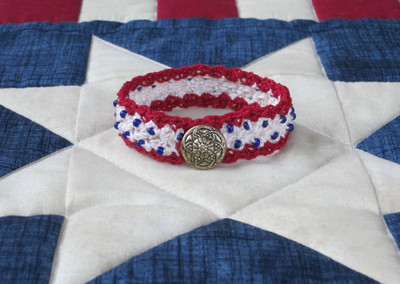 Sweet Liberty Beaded Crochet Bracelet