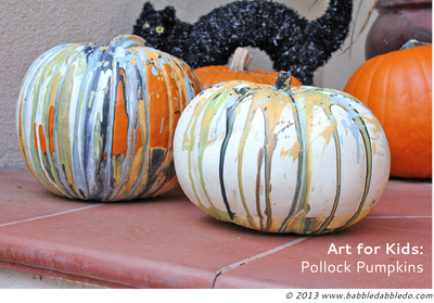 Kid Friendly Pollock Painted Pumpkins