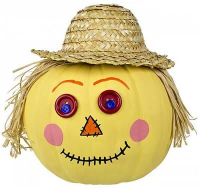 Scarecrow Pumpkin with Straw Hat