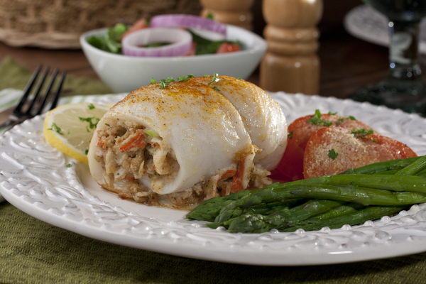 Seafood stuffed fish fillets for Crab stuffed fish