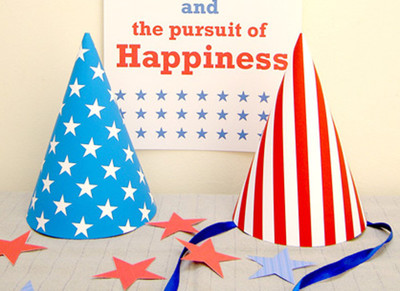 Stars and Stripes Free Printable Party Hats