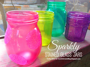 Sparkly Stained Glass Jars