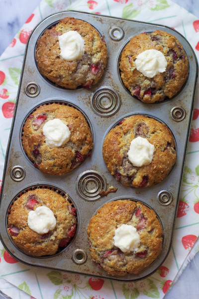 Strawberry Muffins with Cream Cheese Centers
