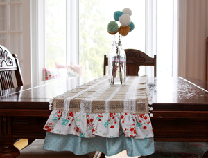Simple Lace and Burlap Table Runner