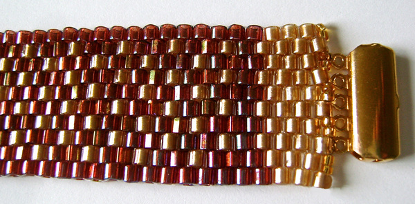 Flecked Raspberry and Gold Peyote Stitch Bracelet
