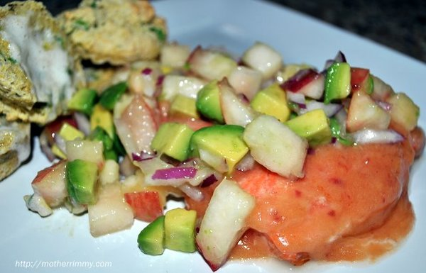 Barbecued Salmon with Peach Salsa