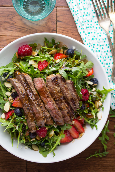 Balsamic Steak, Berry and Arugula Salad