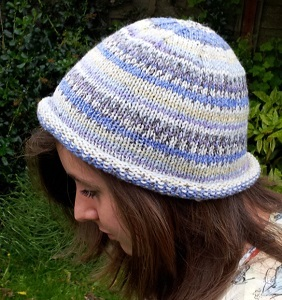 Rolled Brim Stockinette Stitch Beanie