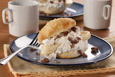 Banana Shortcakes with Candied Nuts
