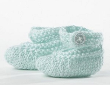 Mint Button Baby Booties