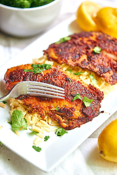Blackened Tilapia with Homemade Spice Rub