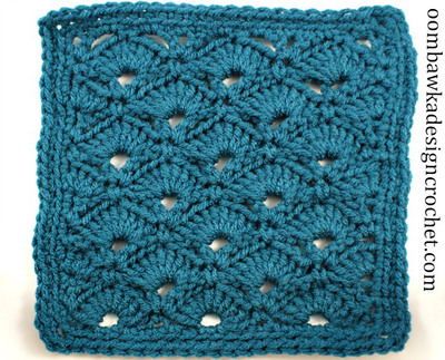 Turquoise Fan Granny Square