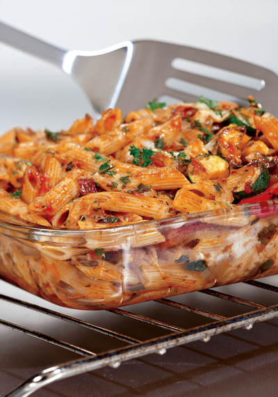 Three Cheese Baked Penne with Roasted Vegetables
