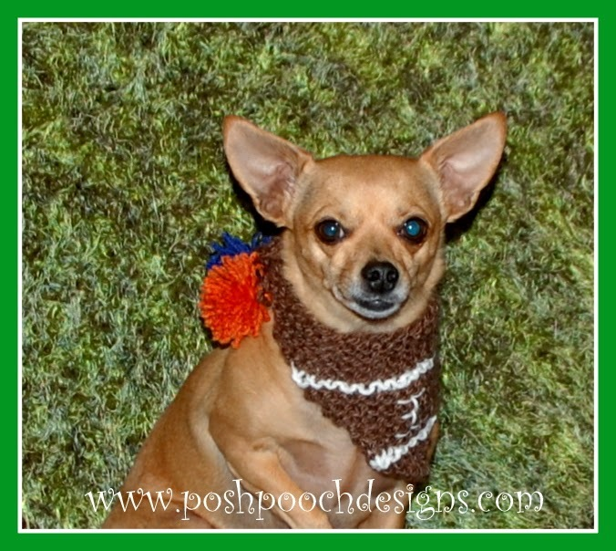 Knitting Patterns For Dog Bandanas : Touchdown Dog Bandana AllFreeKnitting.com