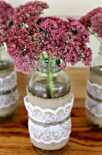 Burlap and Lace Mason Jars