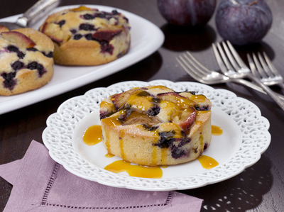Blueberry and Plum Cornmeal Cakes