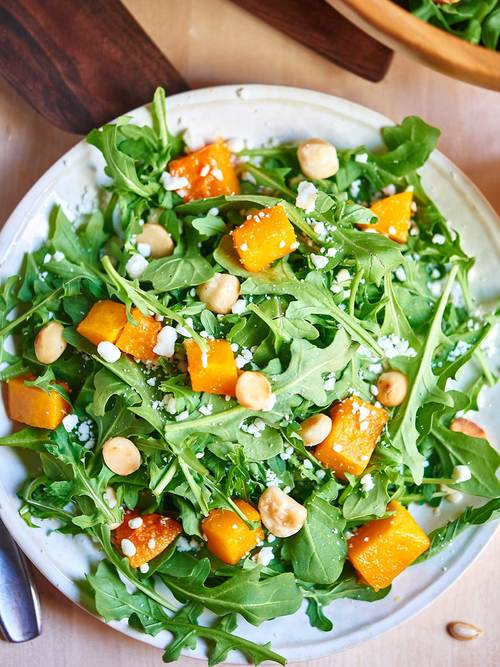 Roasted Squash Arugula Salad with Lemon Vinaigrette