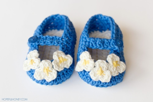 Vintage Mary Jane Crochet Baby Shoes Pattern