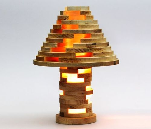 Stacked Wooden Lamp
