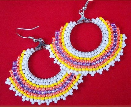 Colorful Circular Brick Stitch Earrings