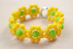 Yellow Flower Beaded DIY Bracelet