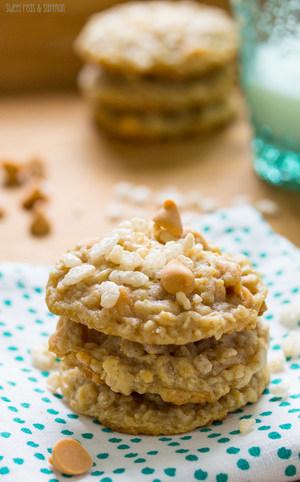 Butterscotch Oatmeal Rice Krispie Cookies   RecipeLion com