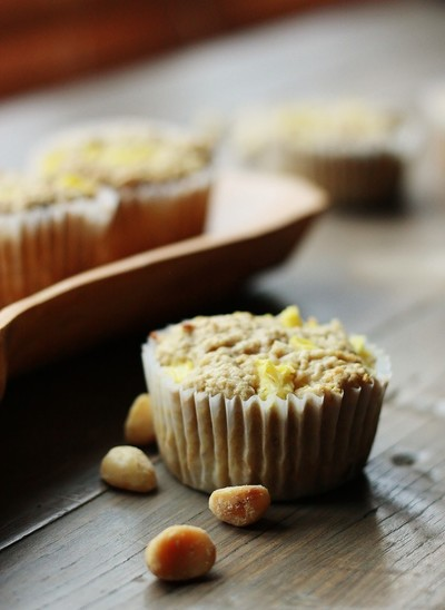 Pineapple Coconut Muffins with Macadamia Butter