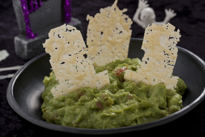 Graveyard Guacamole with Cheese Tombstones