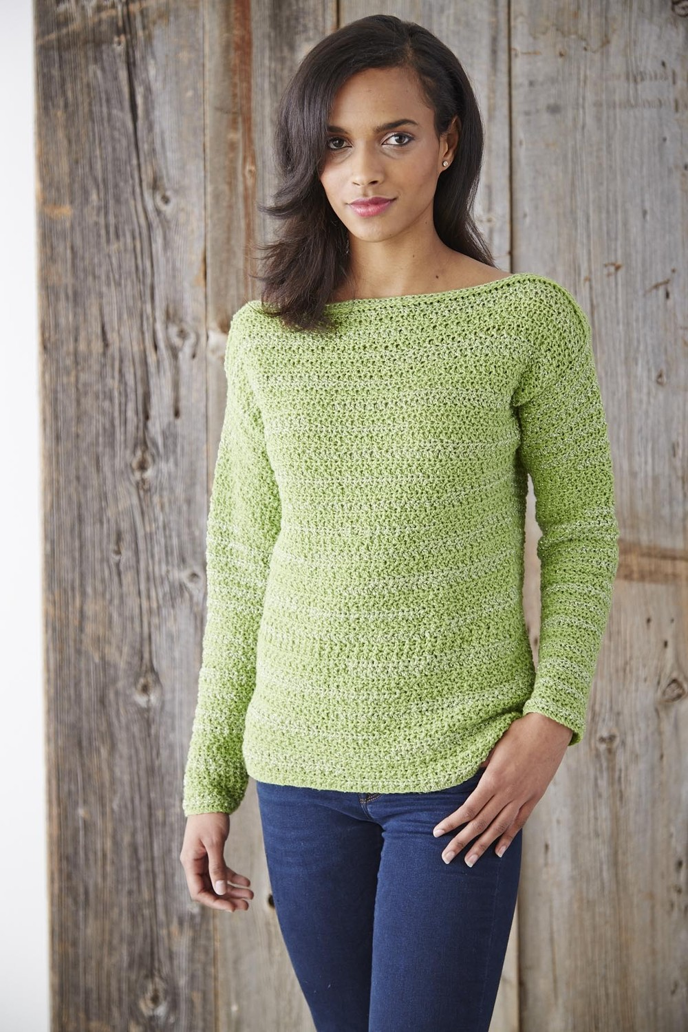 For the perfect light sweater for spring or summer, work up this wonderfully easy breezy Boat Neck Pullover Sweater. The boat neck makes this otherwise ordinary crochet sweater pattern into something simply glamorous to wear. You can throw this sweater over a t-shirt or tank top when the breeze.