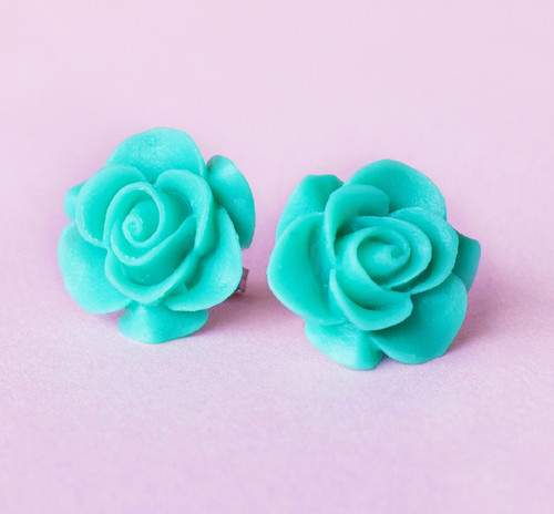 Prada Inspired Resin Rose Earrings