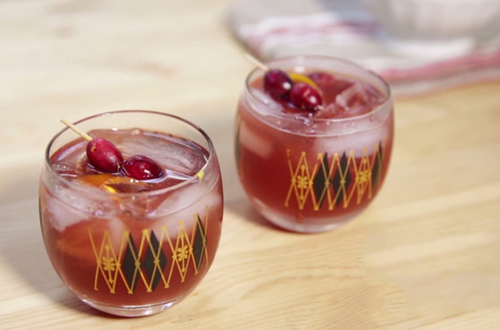 Cranberry Old Fashioned Cocktail Drink