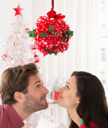 Makeshift Mistletoe Kissing Ball