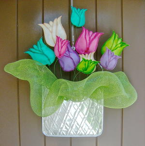 Metal and Fabric Flower Door Hanger