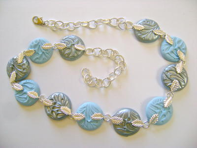 Dazzling Silver Blue Leaf Necklace