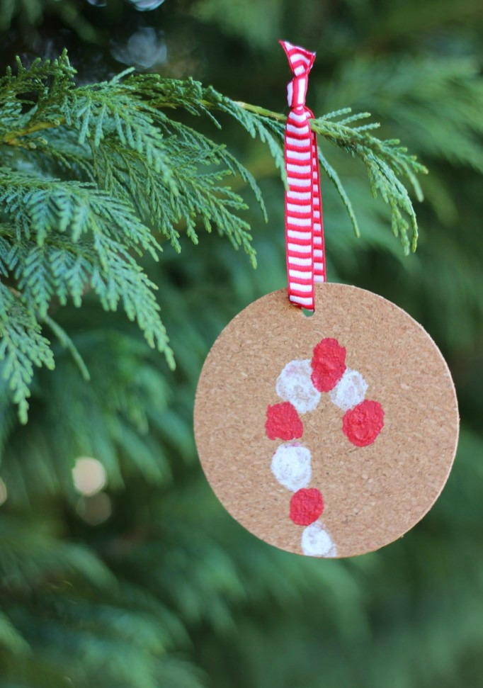 Fingerprint Candy Cane Ornament