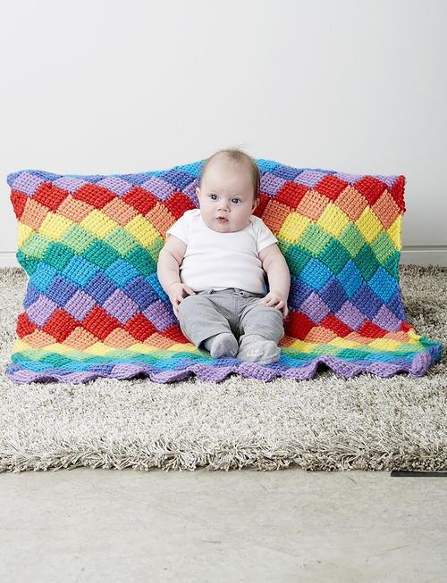 Rainbow Tunisian Crochet Baby Blanket Pattern Allfreecrochetcom