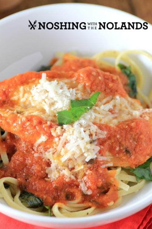 Chicken Parmesan with Basil Linguine